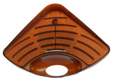 Multifunctional Triangular Kitchen Sink Dishwashing Sponge Storage Rack - BROWN
