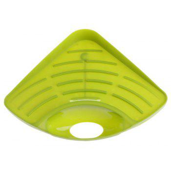 Multifunctional Triangular Kitchen Sink Dishwashing Sponge Storage Rack - GREEN