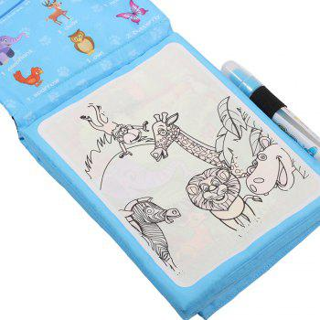 Children Early Education Educational Graffiti Water Magic Cloth Book 4 Pages c - BLUE