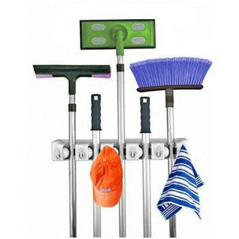 Mop and Broom Holder with 5 Position  6 Hooks Garage Storage Holds up to 11 Tool - WARM WHITE