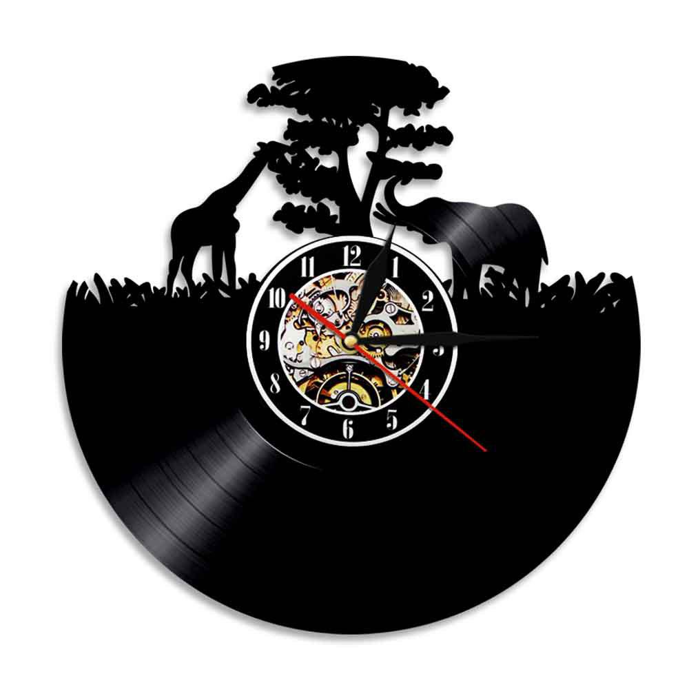 Vinyl Art Wall Clock Home Decal Fashion Gifts - BLACK WITHOUT BATTERY