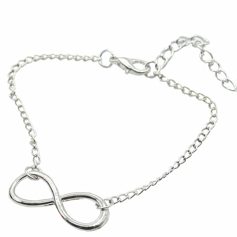 Fashion Character 8 Character Alloy Bracelet Simple Ornaments - SILVER 23CM