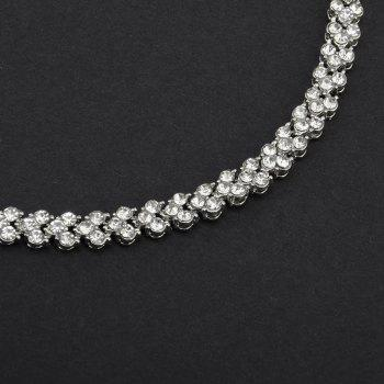 Beautiful and Exquisite Diamond Set Simple Fashion Crystal Bracelet - SILVER 16.5X0.7CM