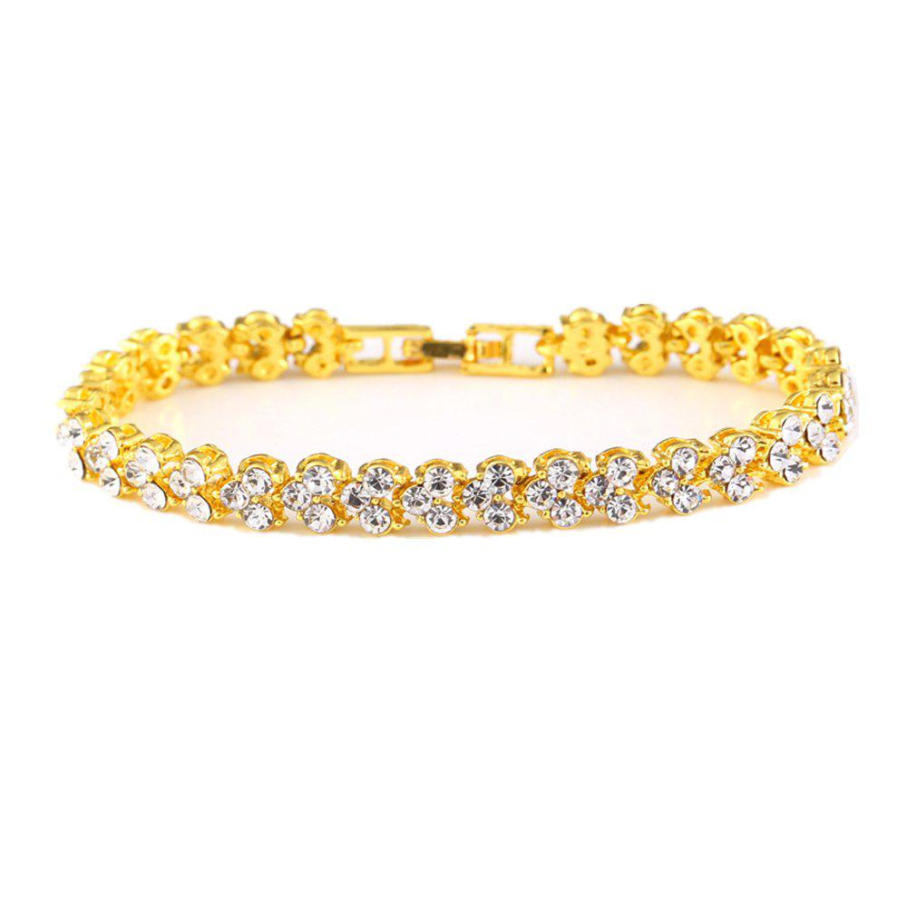 Beautiful and Exquisite Diamond Set Simple Fashion Crystal Bracelet - GOLD 16.5X0.7CM