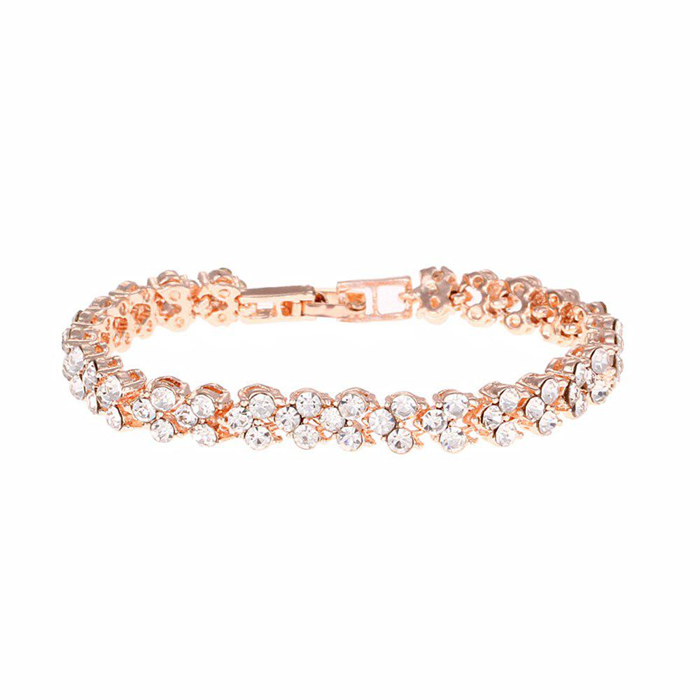 Beautiful and Exquisite Diamond Set Simple Fashion Crystal Bracelet - ROSE GOLD 16.5X0.7CM