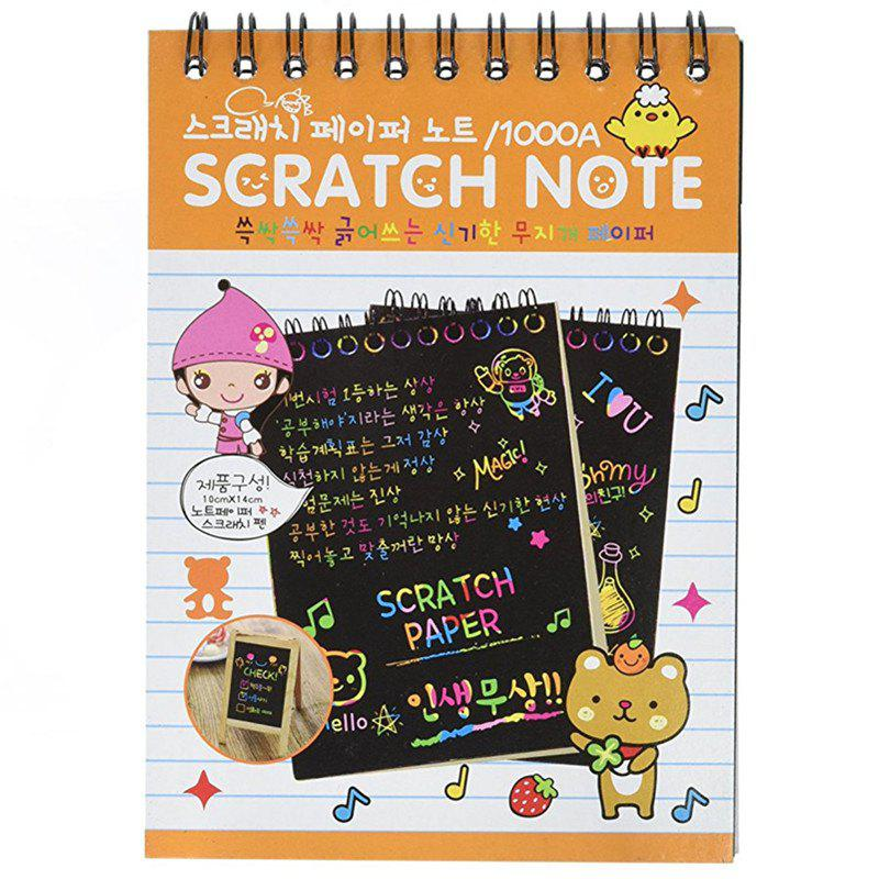 Magic Scratch Art Painting Book Paper Colorful Educational Playing Toy - MANGO ORANGE