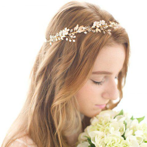 Gold Leaf Vine Bridal Headpiece Boho Crystal Pearl Wedding Wreath Women - WHITE