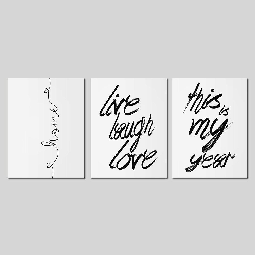 Frame Canvas Living Room Sofa Background Wall English Letter Print 3PCS