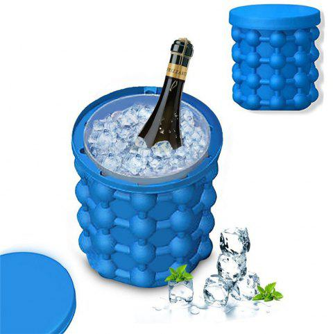 Ice Bucket Ice Saving Cube Maker Silicone Container Kitchen Tool - SAPPHIRE BLUE