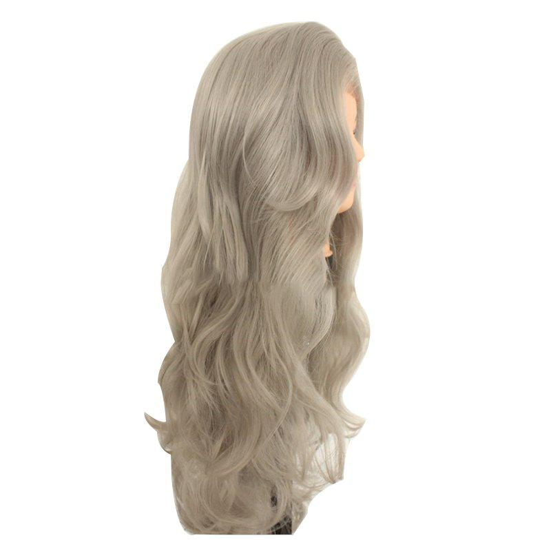 European and American Wig Grandma Grey Synthetic Wig - LIGHT GRAY 24INCH