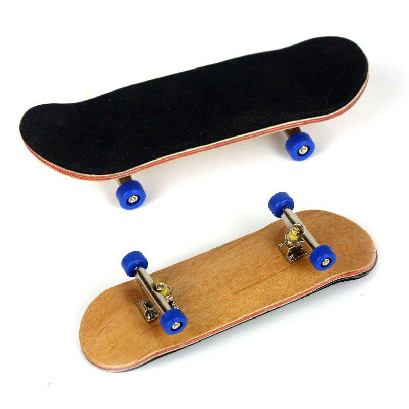 New Complete Wooden Fingerboard Finger Skate Board Grit Box Foam Tape Maple Wood - DEEP BLUE