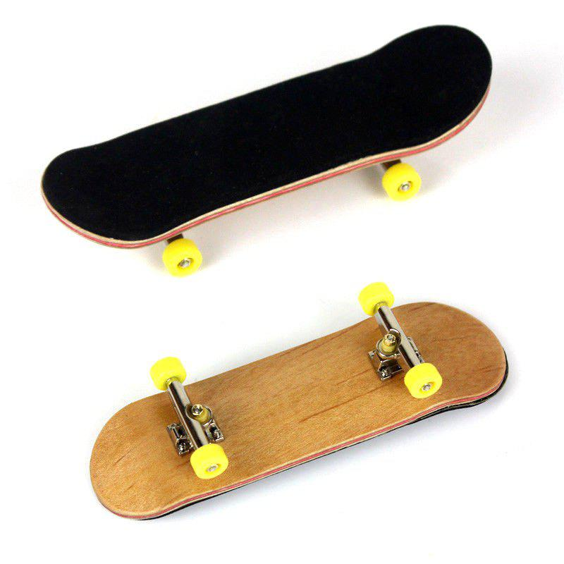 New Complete Wooden Fingerboard Finger Skate Board Grit Box Foam Tape Maple Wood - YELLOW