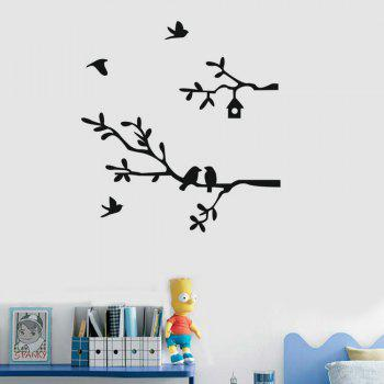 Forest Animals Tree Wall Wtickers for Kids Room  Decor - BLACK