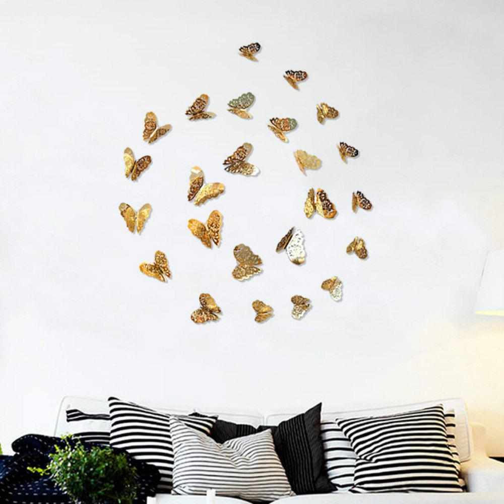 Metallic Sense 12 pcs 3D Wall Stickers Butterflies Hollow DIY Home Decor 100 pcs mixed stickers for laptop luggage car bicycle motorcycle skateboard phone home decor decal graffiti waterproof sticker