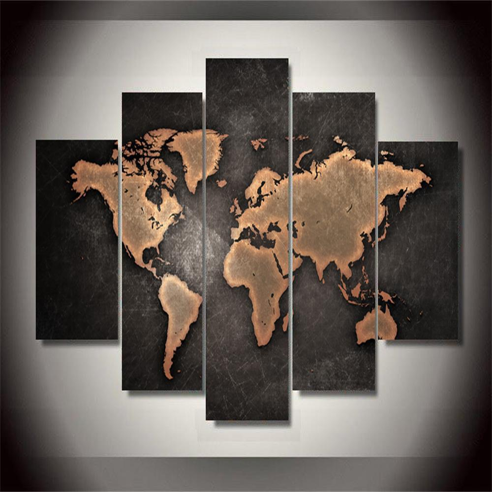 World Map Frameless Printed Canvas Wall Art Paintings 5PCS sunset frameless printed canvas wall art paintings 4pcs