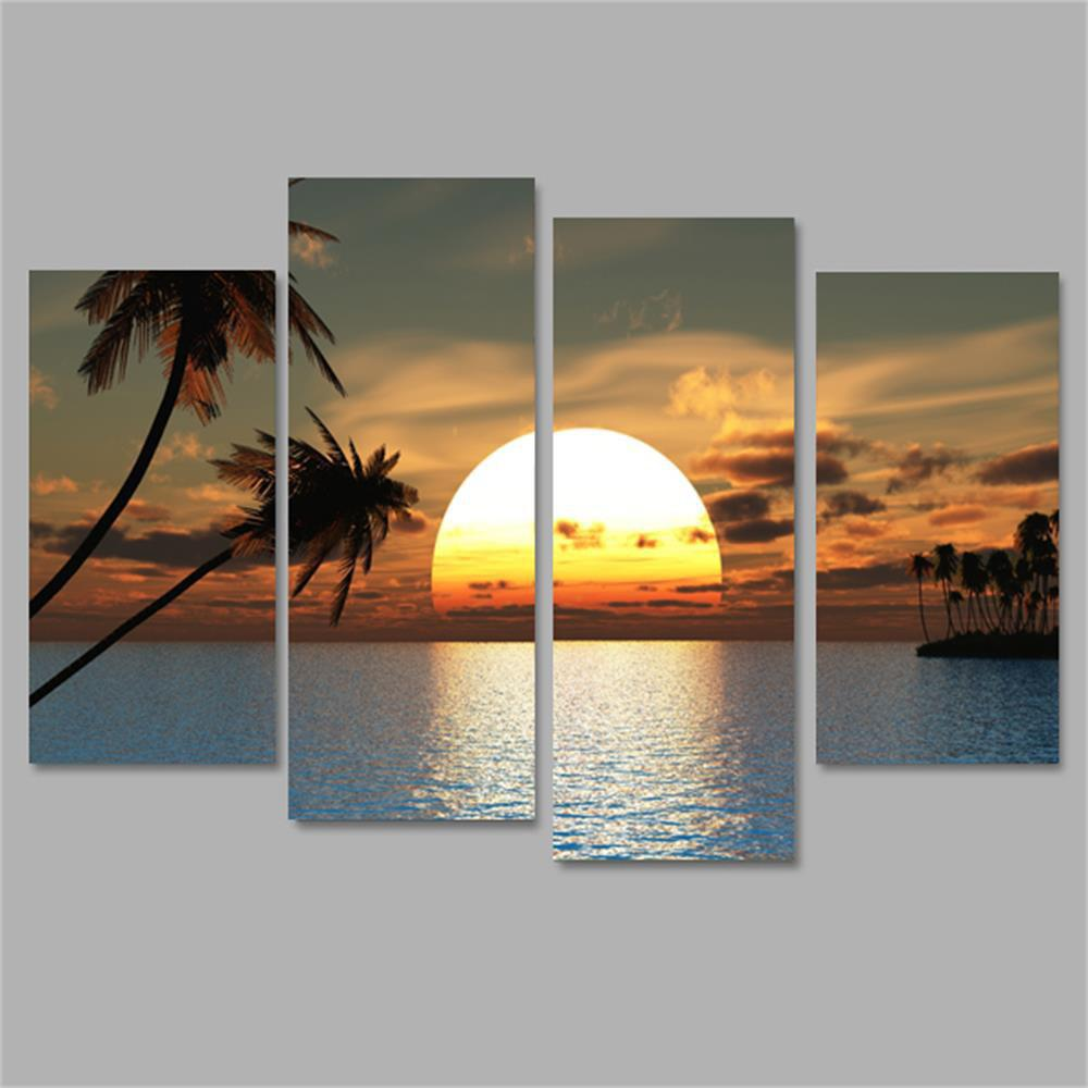Sunset Frameless Printed Canvas Wall Art Paintings 4PCS sunset seascape patterned canvas wall art paintings