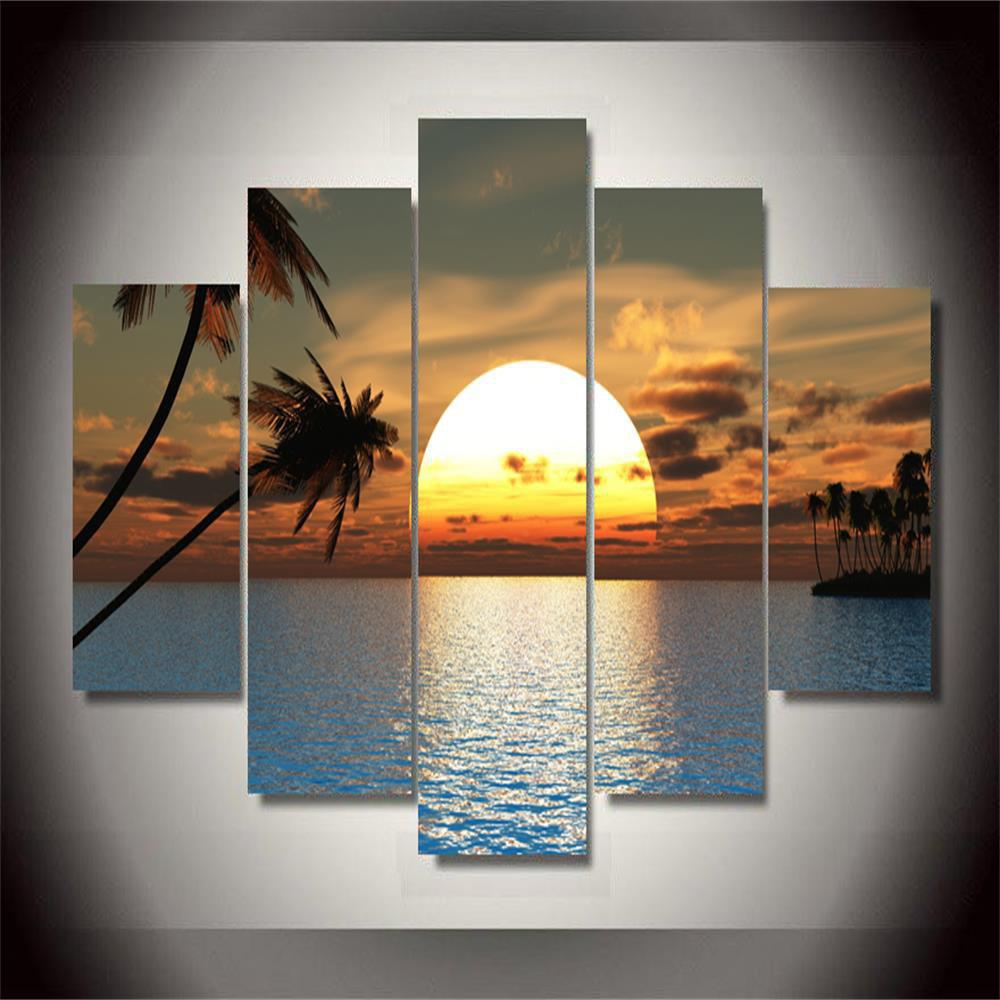 Sunset Frameless Printed Canvas Wall Art Paintings 5PCS sunset frameless printed canvas wall art paintings 4pcs