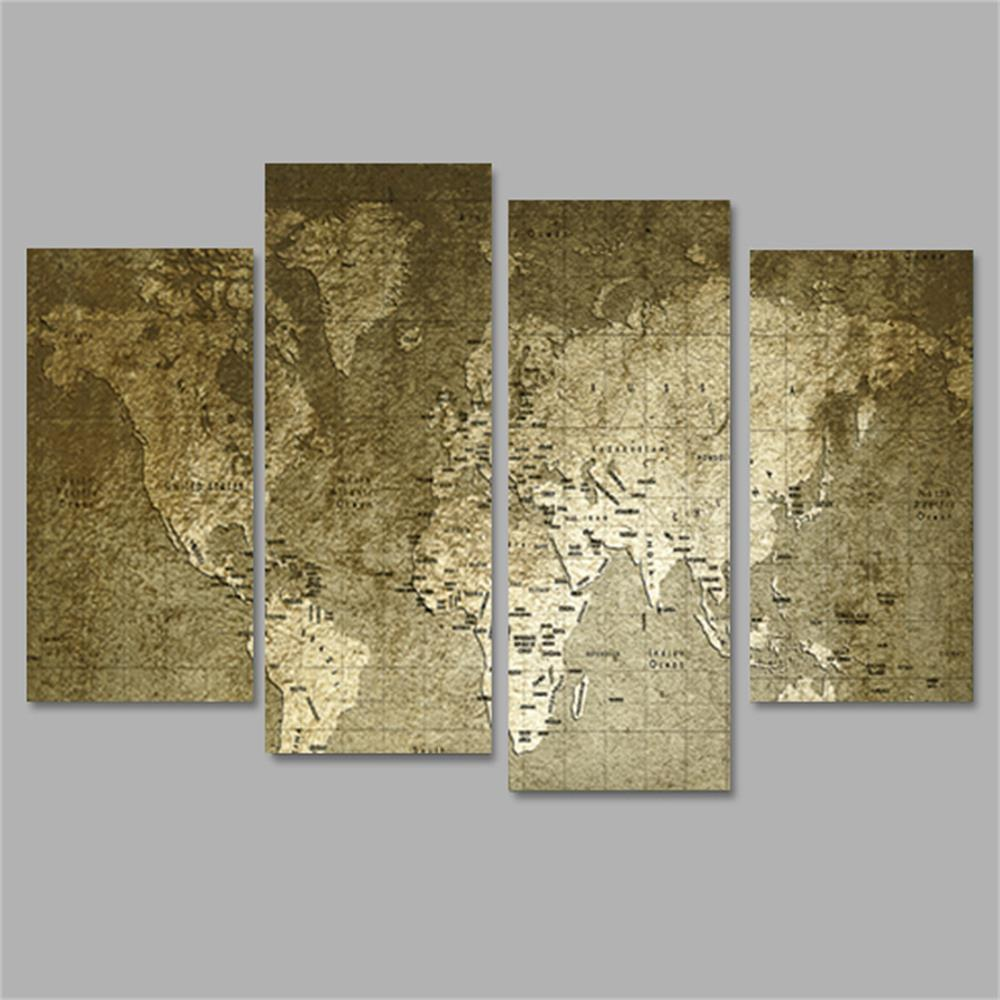 Old World Map Frameless Printed Canvas Wall Art Paintings 4PCS world map frameless printed canvas wall art paintings 5pcs