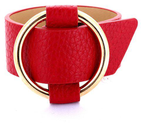 Charm Big Leather Bracelet Classic Alloy Round Adjustable Wide Leather Bracelet - SCARLET