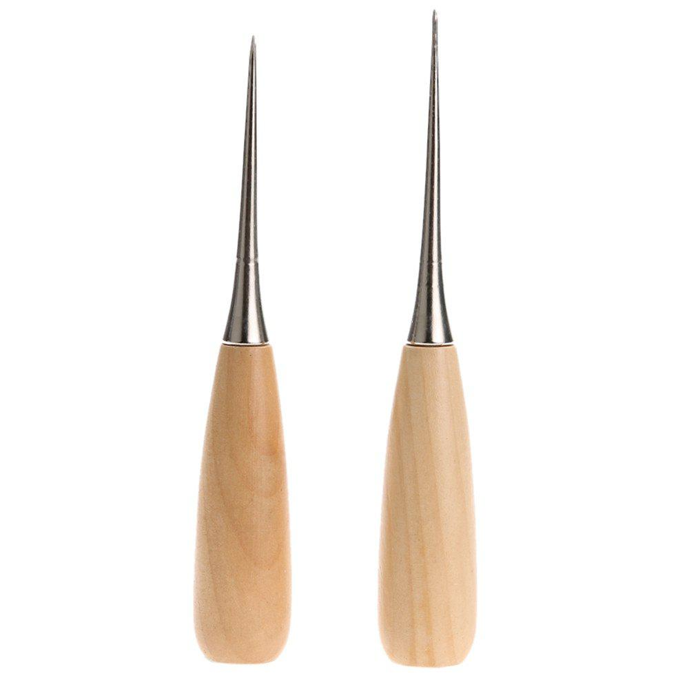 Professional Fabric Awl Sewing Hole Leather Wood Handle Cone Crafts Tool 2PCS - multicolor