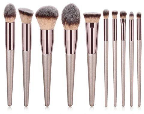 10PCS Champagne Gold Curry High End Make Up Brush - WHITE