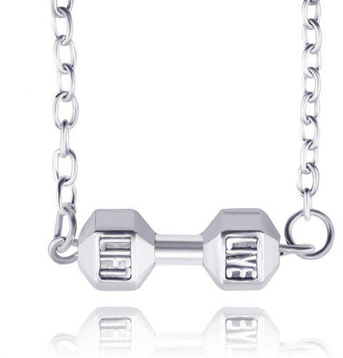 Fashion Fitness Weight Lifting Dumbbell Pendant Necklace - COOL WHITE