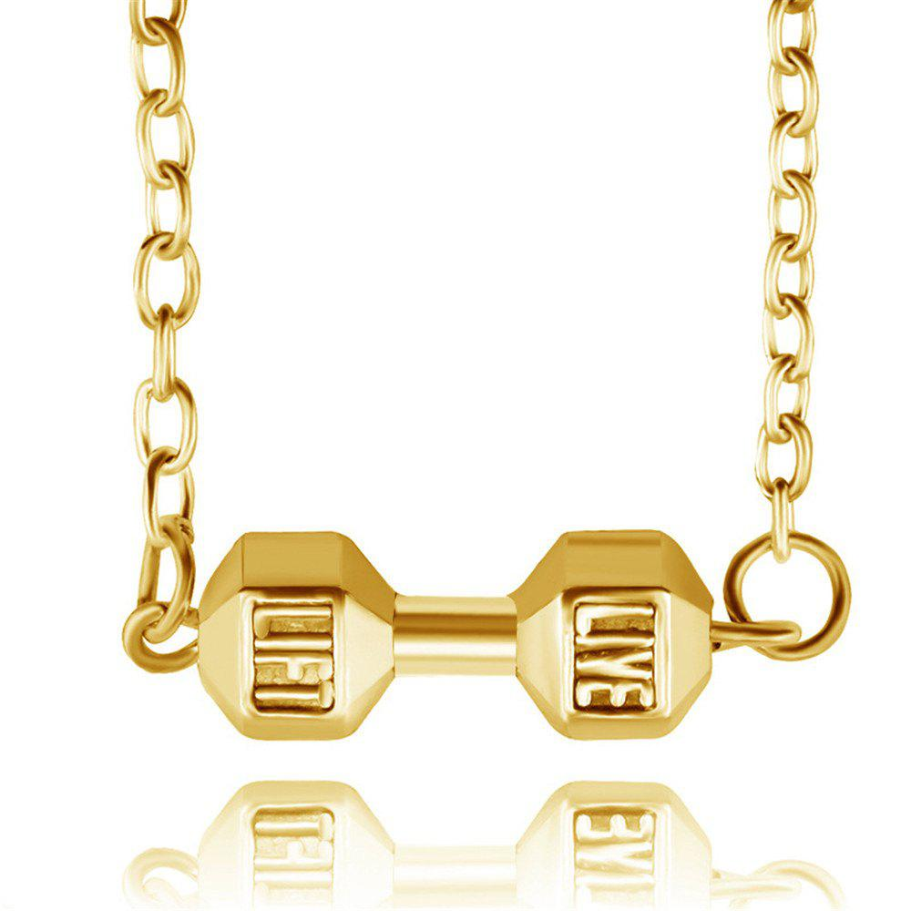 Fashion Fitness Weight Lifting Dumbbell Pendant Necklace - GOLDEN BROWN