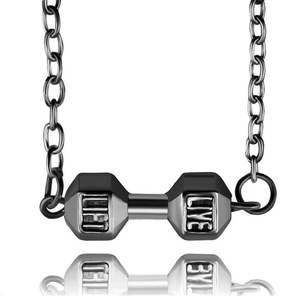 Fashion Fitness Weight Lifting Dumbbell Pendant Necklace - BLACK