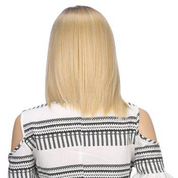 Synthetic Ombre Medium Straight Bob Hair Black Blonde Wigs with Skin for Girls - BLONDE 12INCH