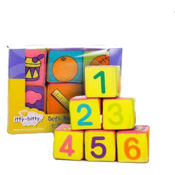 Baby Rattle Puzzle Early Education Digital Box Small Cube 6PCS - multicolor A