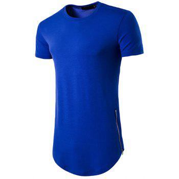"<P>Men's Olympiad Street Style Double Zipped Long Round Neck Short Sleeve T Shirt</P><I Class=""Icon Down Js Tap Up Down""></I> by Dress Lily"