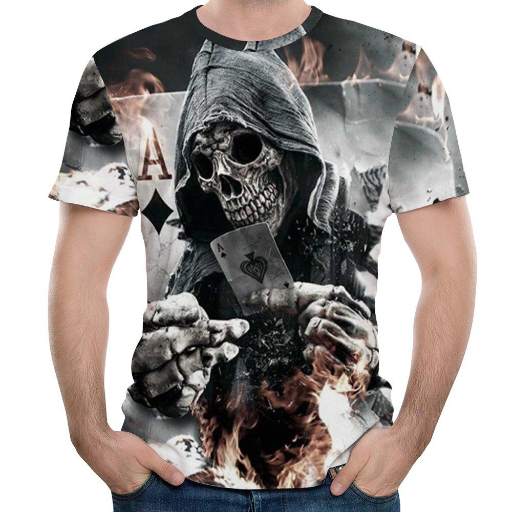 Summer Fashion 3D Spade Death Print Men's Round Neck Short T-shirt - VAMPIRE GRAY 4XL