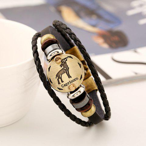 YEDUO 12 Constellations Men  Zodiac Signs Punk  Leather Bracelet - DARK GOLDENROD