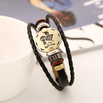 YEDUO 12 Constellations Men  Zodiac Signs Punk  Leather Bracelet - WOOD