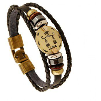 YEDUO 12 Constellations Men  Zodiac Signs Punk  Leather Bracelet - BROWN