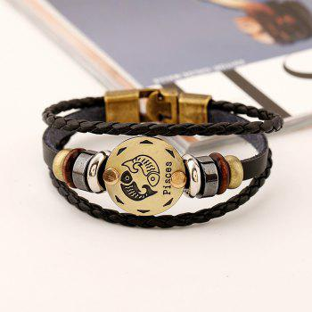 YEDUO 12 Constellations Men  Zodiac Signs Punk  Leather Bracelet - CARAMEL