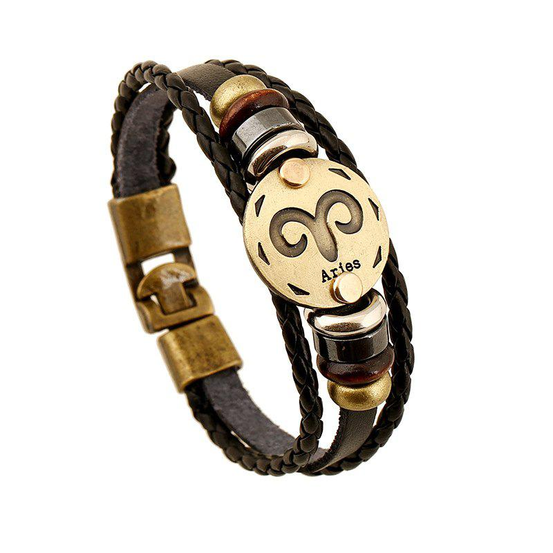 YEDUO 12 Constellations Men  Zodiac Signs Punk  Leather Bracelet - BROWN BEAR
