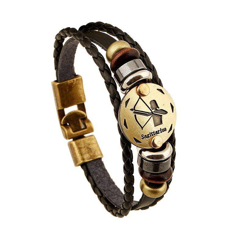 YEDUO 12 Constellations Men  Zodiac Signs Punk  Leather Bracelet - COOKIE BROWN