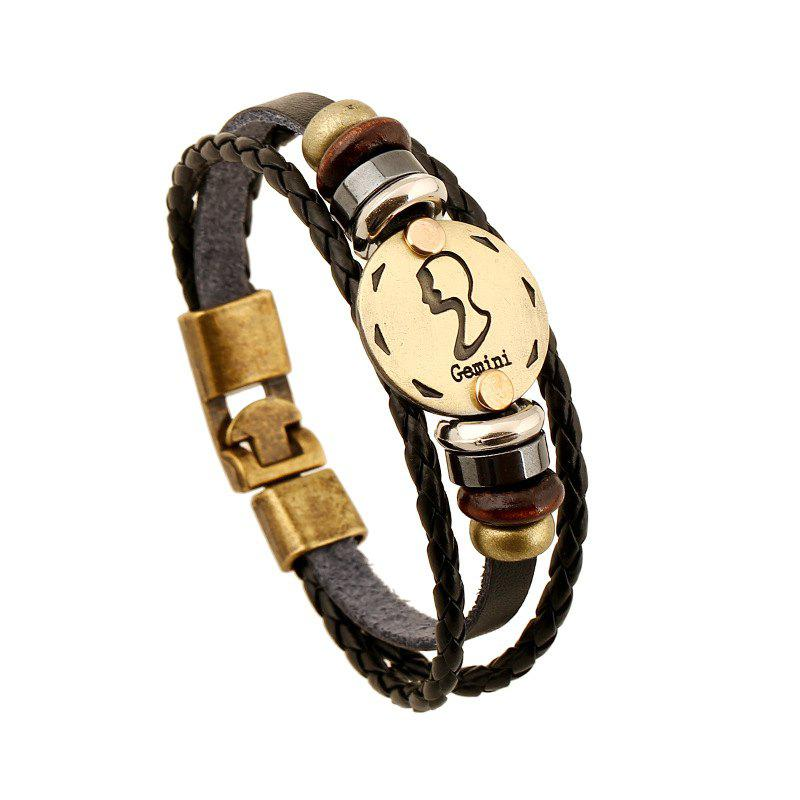 YEDUO 12 Constellations Men  Zodiac Signs Punk  Leather Bracelet - CINNAMON