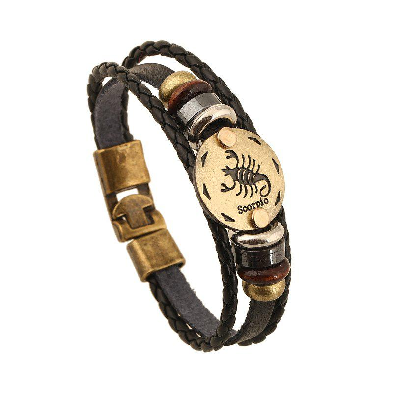 YEDUO 12 Constellations Men  Zodiac Signs Punk  Leather Bracelet - OAK BROWN