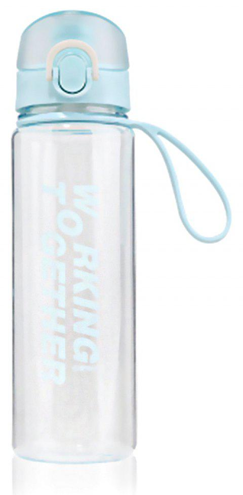 Creative Convenience Jump Cover Transparent Leakproof Snap Button Plastic Cup - LIGHT BLUE