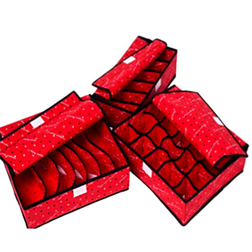 Covered Thickening Heightening Non-Woven Storage Box 3PCS - RED