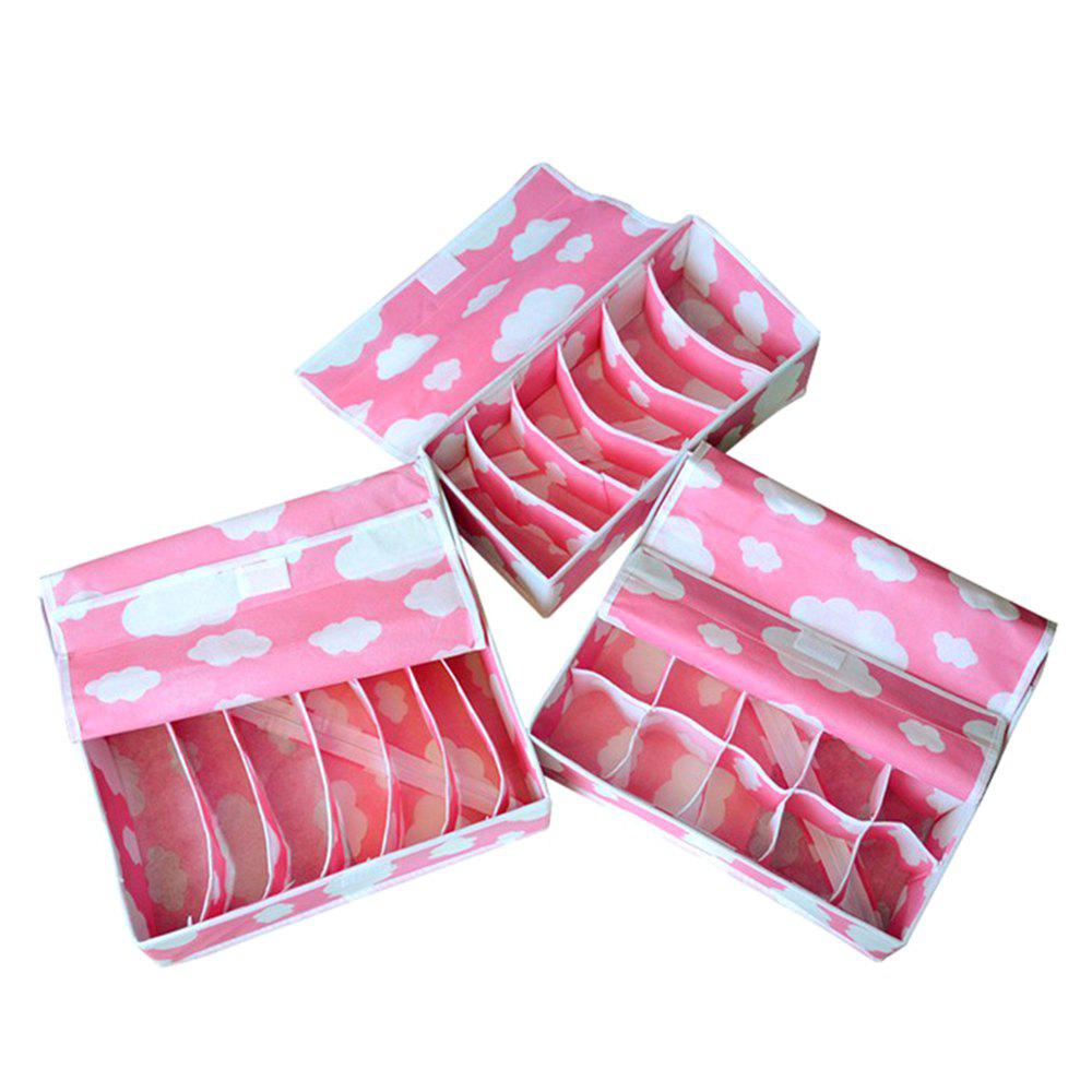 Covered Thickening Heightening Non-Woven Storage Box 3PCS - WATERMELON PINK