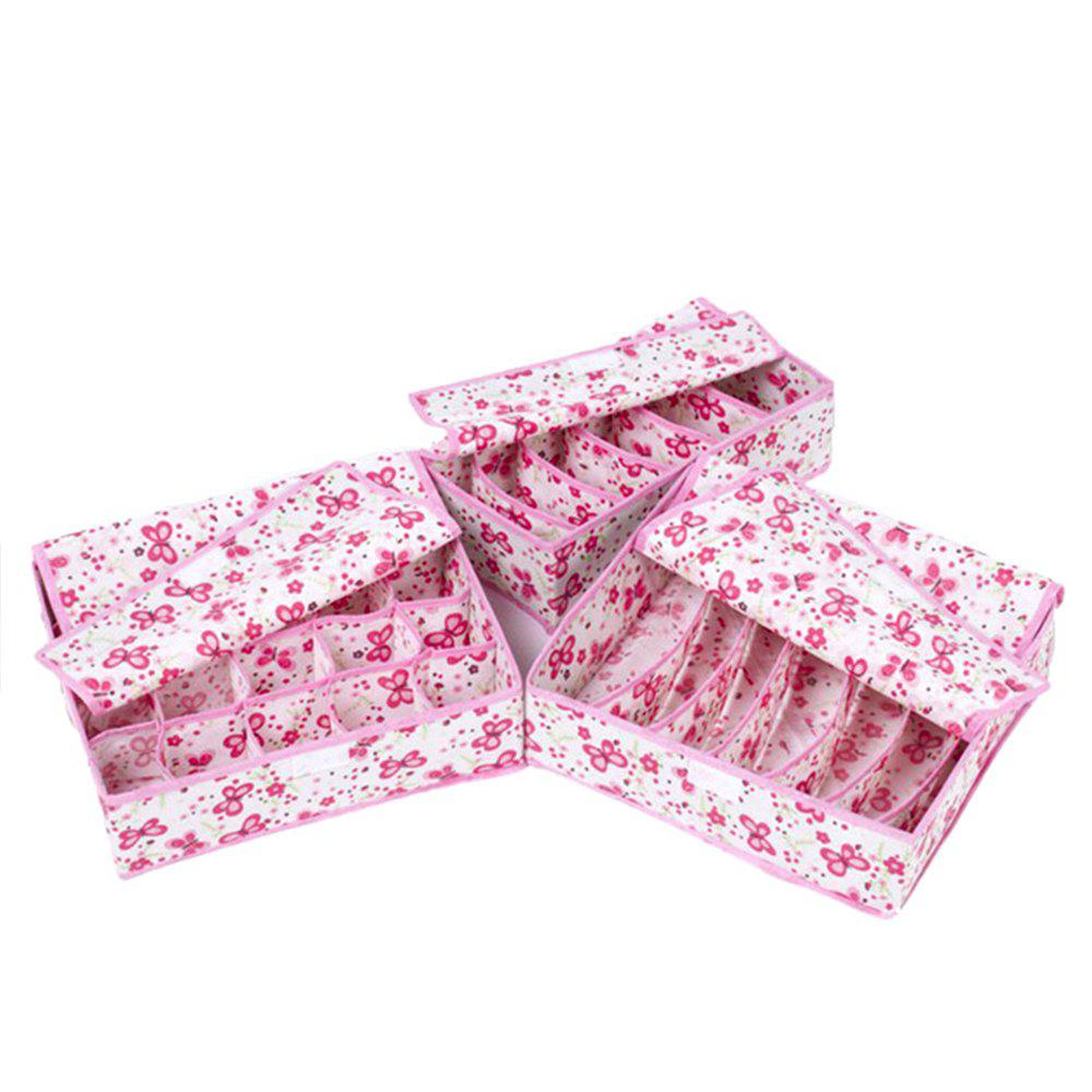 Covered Thickening Heightening Non-Woven Storage Box 3PCS - HOT PINK