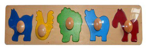 Early Education Toys Wooden Animal Geometry Claw Plate - multicolor B