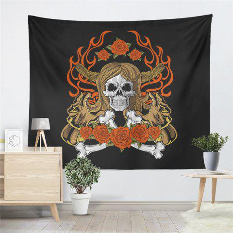 Indian Series of Flame Skeleton Pattern Personalized Decoration Tapestry GT-34-1 - BLACK SIZE S