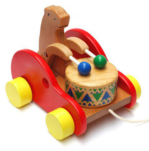 Wooden Drums Bear Creative Educational Toys for Children - multicolor
