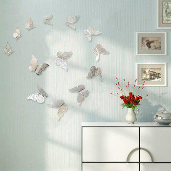 12pcs 3D Butterflies Hollow DIY Home Decor Wall Sticker - SILVER