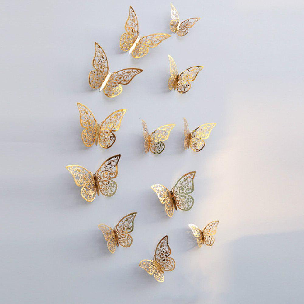 12pcs 3D Butterflies Hollow DIY Home Decor Wall Sticker - GOLD