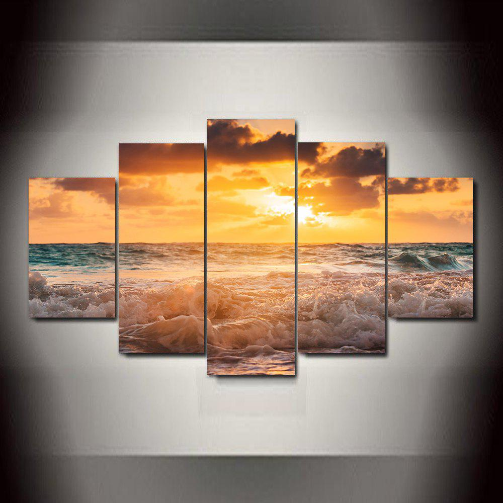 Sunset Waves Frameless Printed Canvas Art Paint 5PCS 4pcs waves sunset printed canvas unframed wall art